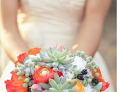 Bouquet with Vibrant Poppies, Succulents, Ranunculus and Blackberries (with Boutonniere)