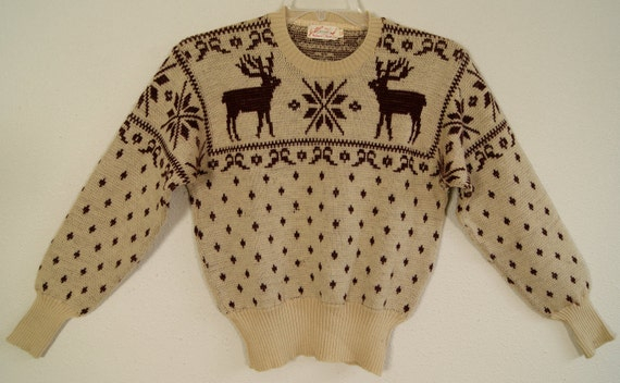 40s -M- Jantzen - Reindeer - Rockabilly - Sweater - 1940s - Holiday - VLV - MCM - Mid Century - Jumper
