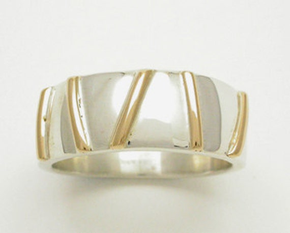 Wide Wedding Ring: Yellow Gold and Sterling Silver Gold Bars Band Ring