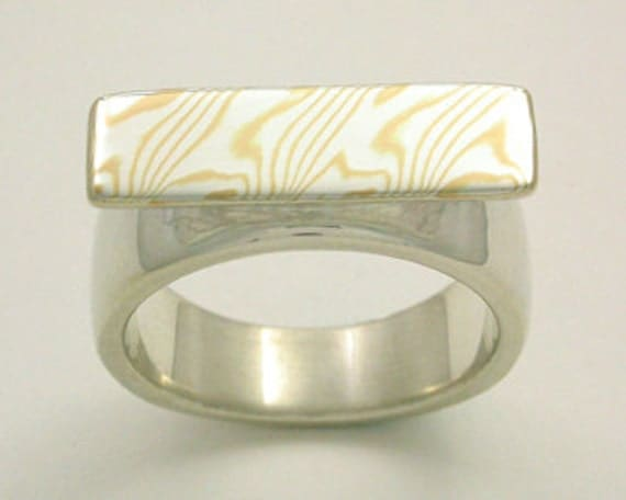 Mokume Gane Accent Ring - Sterling Silver and Yellow Gold