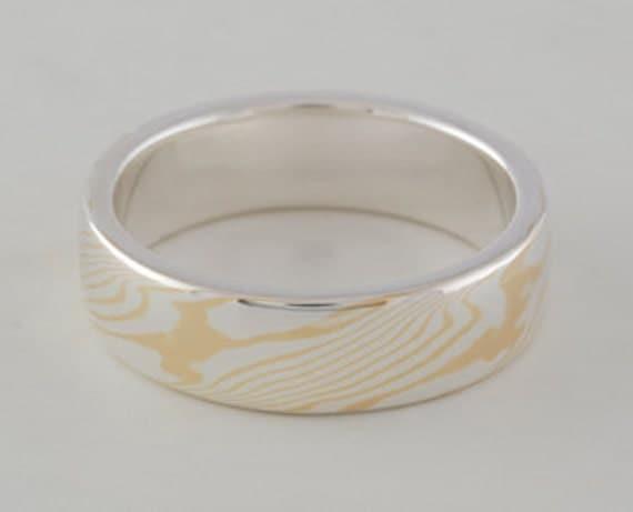 Mokume Gane Ring: 22kt yellow gold and sterling silver, narrow