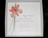 Real Orchid Flower Couture Boxed Wedding Invitations: The Tina Package (dark pink)