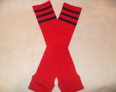 Solid red with navy blue athletic stripes baby leg warmers baby legs