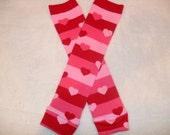 Valentines day red and pink stripes and hearts baby leg warmers baby legs