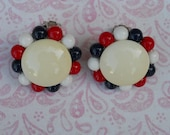 Vintage 1970's Red, White and Blue Button Clip On Earrings