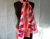 Geometric Print Vintage Long Neck Scarf  in Pink, White, Red, and Blue