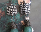 Green Aventurine Faceted Briolette Teardrops - Oxidized Sterling Silver Messy Wire Wrap- Embossed Square Earrings