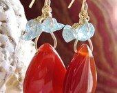 Carnelian Agate Teardrop with Aquamarine Chips Gold Wire Wrapped