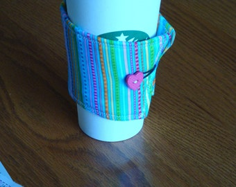 Blue Stripe Coffee Cup Cozy
