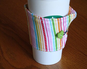 White Stripe Coffee Cup Cozy