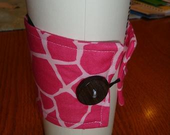 Pink Giraffe Coffe Cup Cozy