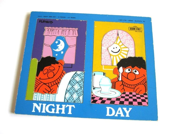 vintage sesame street ernie night and day wooden puzzle by playskool