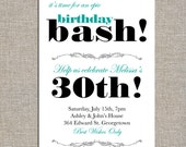 birthday bash party invitation - diy printable file by yellow brick studio