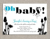Garden party baby shower custom invitations - diy printable file by yellow brick studio