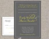 wedding invitation set -  grey and yellow - diy printable files by YellowBrickStudio