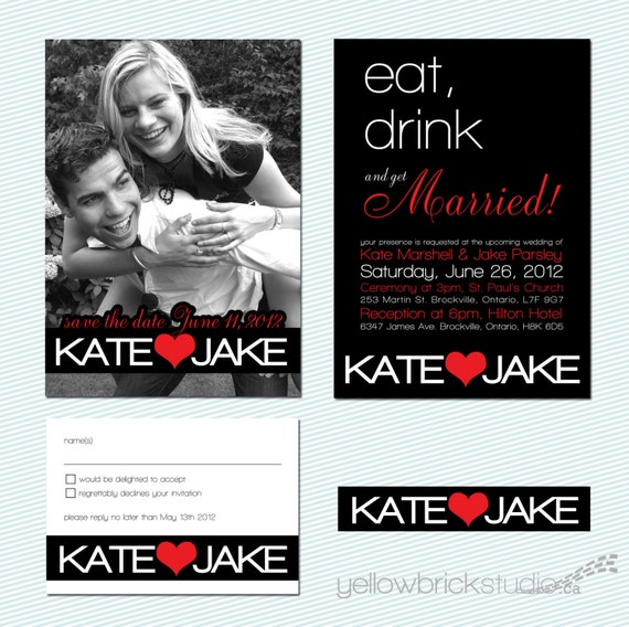 custom wedding invitation set - eat drink and get married - diy printable file by yellow brick studio