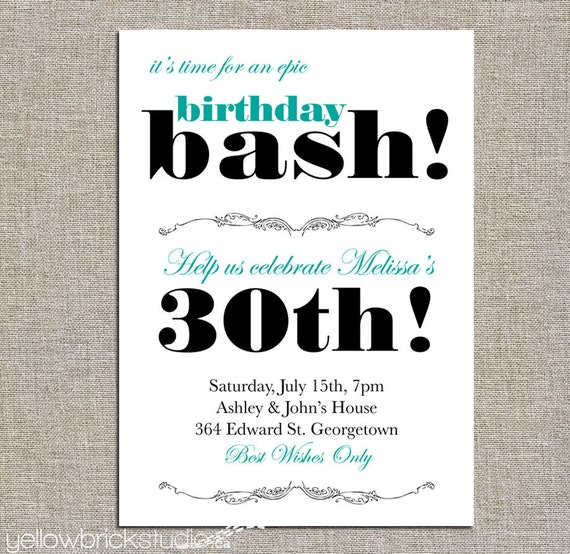 Bash Invitations Birthday Bash Party Invitation