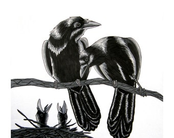 Four For A Birth - Raven Poem - Archival Art Print