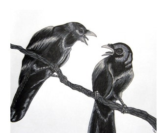 Two For Mirth - Raven Poem - Archival Art Print