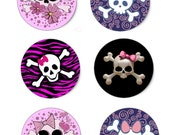 girly skulls 1  inch circles  ,bottlecap graphic,magnets digital collage sheets
