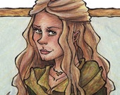 Eowyn in Green - Lord of the Rings - Sword - 2x6 Laminated Bookmark