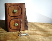 Desert timber Tree Bandsawn box with gum leaf green melted glass drawer knobs