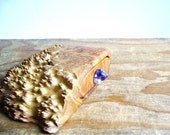 Wooden box bandsaw jewelry Australian timber yellow mallee burl handmade purple glass knob