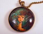 Zodiac Virgo Necklace - Hand Painted Pendant