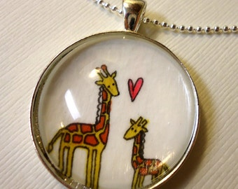Mothers Day Gift  - Heart - Mommy And Baby Giraffe Necklace
