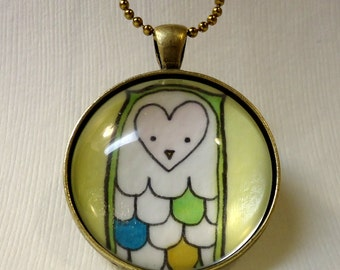 Owl Necklace - Art Pendant - Forest Animal