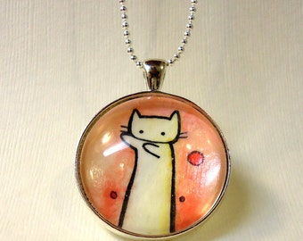 Long Cat Internet Meme Necklace - Hand Painted Pendant