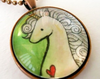 Unicorn Necklace - Hand Painted Pendant - Picture Jewelry