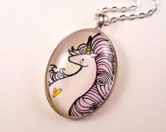 Unicorn Pendant - Art Jewelry - Hand Painted Necklace - Purple