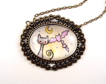 Halloween Necklace - Bats And Black Cat
