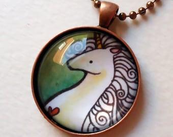 Unicorn Pendant - Copper Necklace - Art Print
