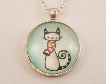 Christmas Cat Necklace - Winter Jewelry - Holiday Theme Hand Painted Necklace