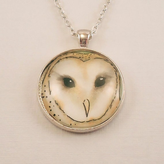 White Barn Owl Glass Photo Necklace - Owl Jewelry - Christmas or Winter Pendant