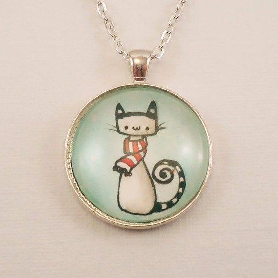 items similar to christmas cat necklace winter jewelry