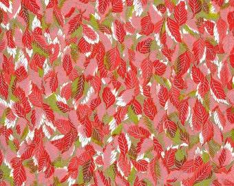 Japanese Yuzen Chiyogami Washi Paper (Leaf Design 11) - A4 Sheet