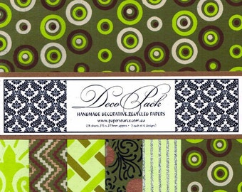 Decorative Paper Pack - Green - (18 Sheets)