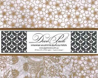 Decorative Paper Pack - Chiffon - White & Gold - (18 Sheets)