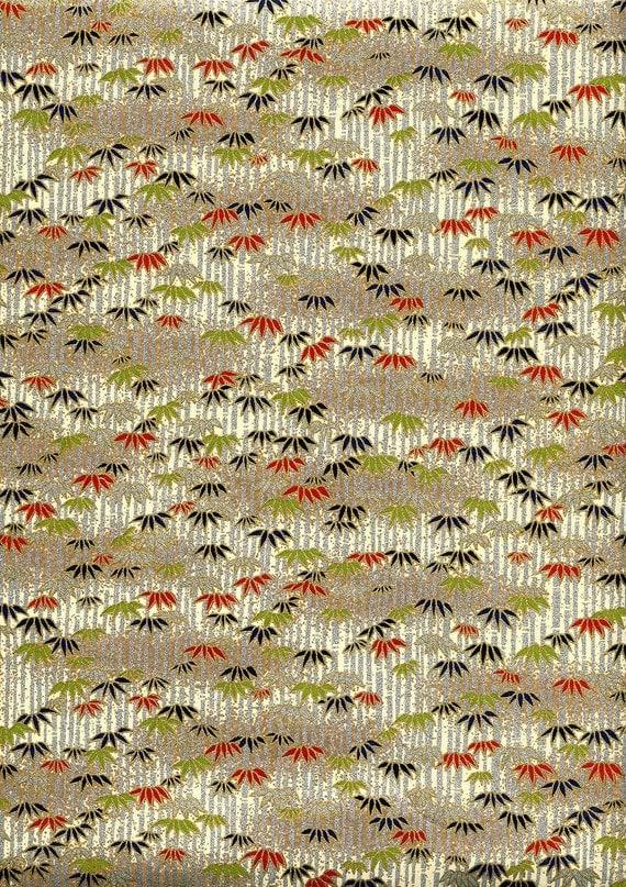 Japanese Yuzen Chiyogami Washi Paper (Leaf Design 14) - A4 Sheet