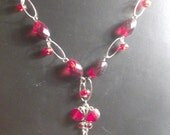 Red heart butterly necklace