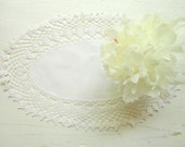 White Cotton Fabric and White Crochet mix Doily (15 x 9 inches)