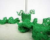 Green Waved Crochet Candle stick and 2 Coasters