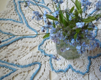 "Crochet White and Blue forget- me- not Flower Doily (20"")"
