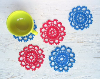 Crochet Bright Red and Blue Tea Cup Coaster set