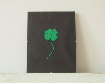 Four Leaf Lucky Clover- St Patricks Crocheted home Decor in Frame