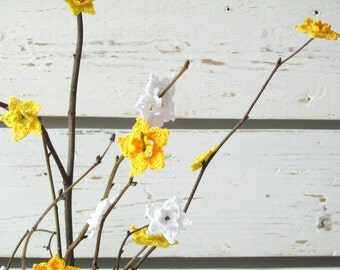 Crochet Yellow and White Daffodil Flowers (20pcs)