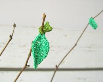 Crochet Green Tree leaves (21pcs)